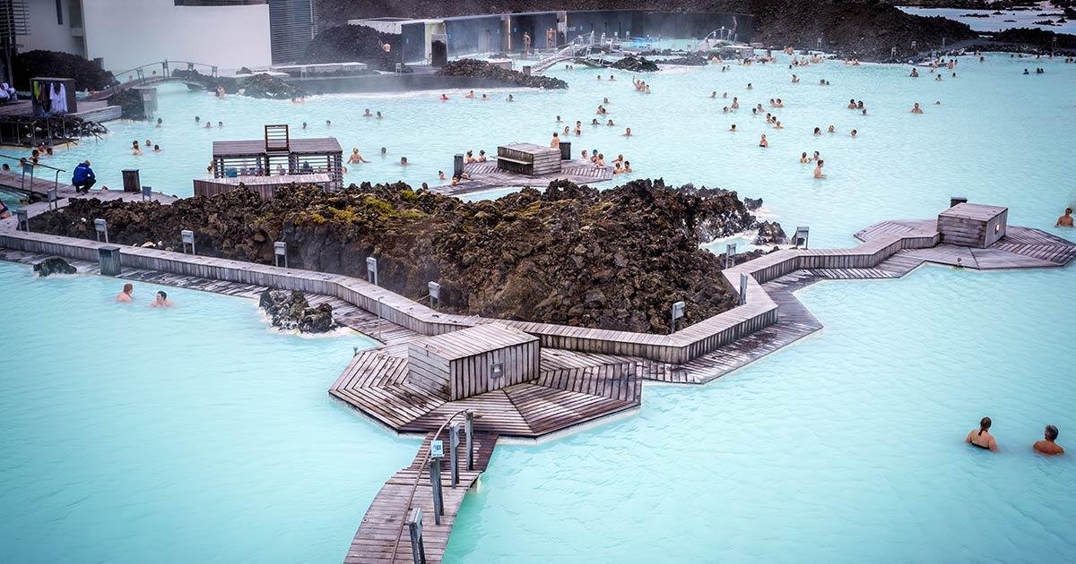 Blå lagunen bada i varma källor på Island